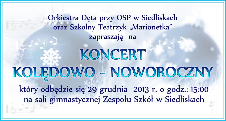zaproszenie kocert koledowo - noworoczny grudzień 2013
